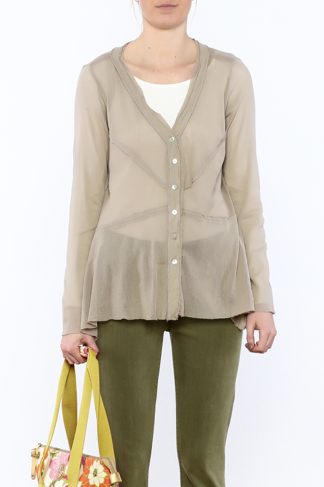 Cut Loose Sheer Beige Jacket - Side Cropped Image