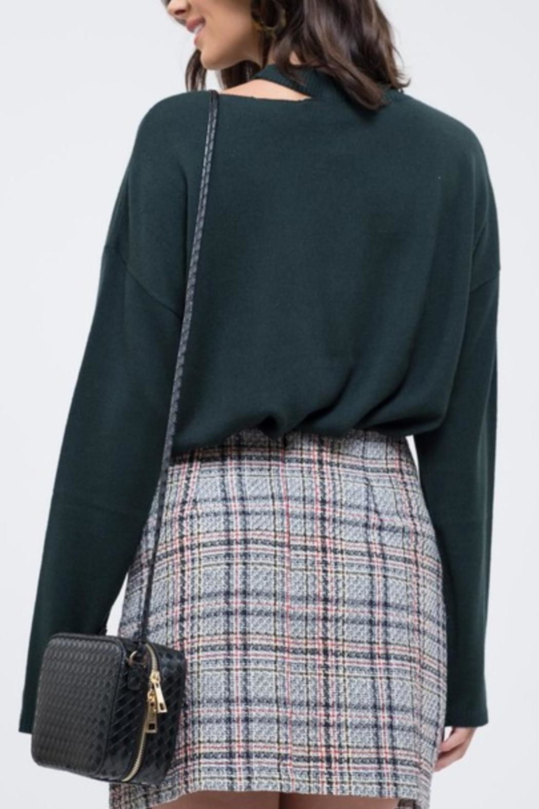 EVIDNT Cut-Out Green Sweater - Side Cropped Image