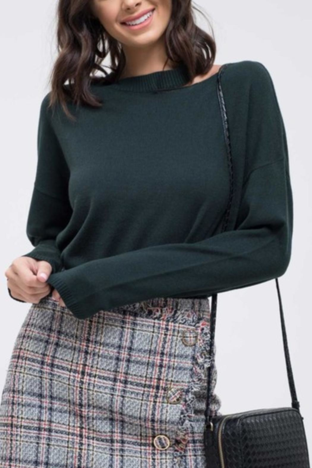 EVIDNT Cut-Out Green Sweater - Main Image