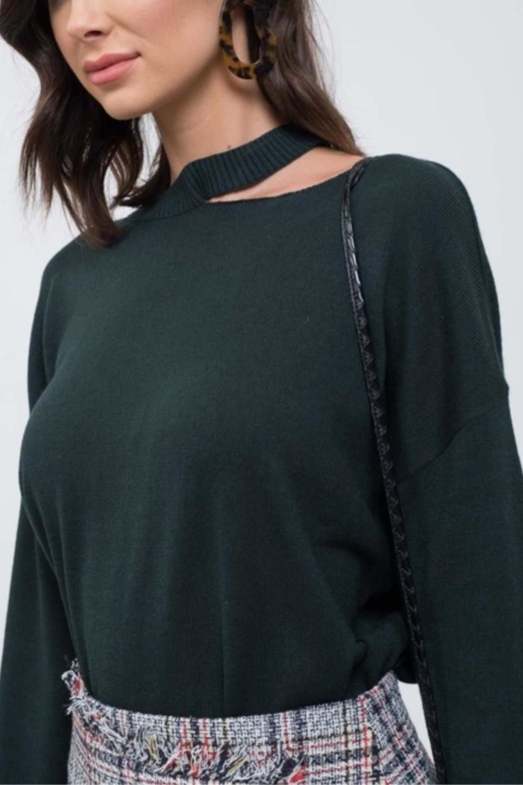 EVIDNT Cut-Out Green Sweater - Front Full Image