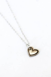 Chocolate and Steel Cut Out Heart Necklace - Product Mini Image