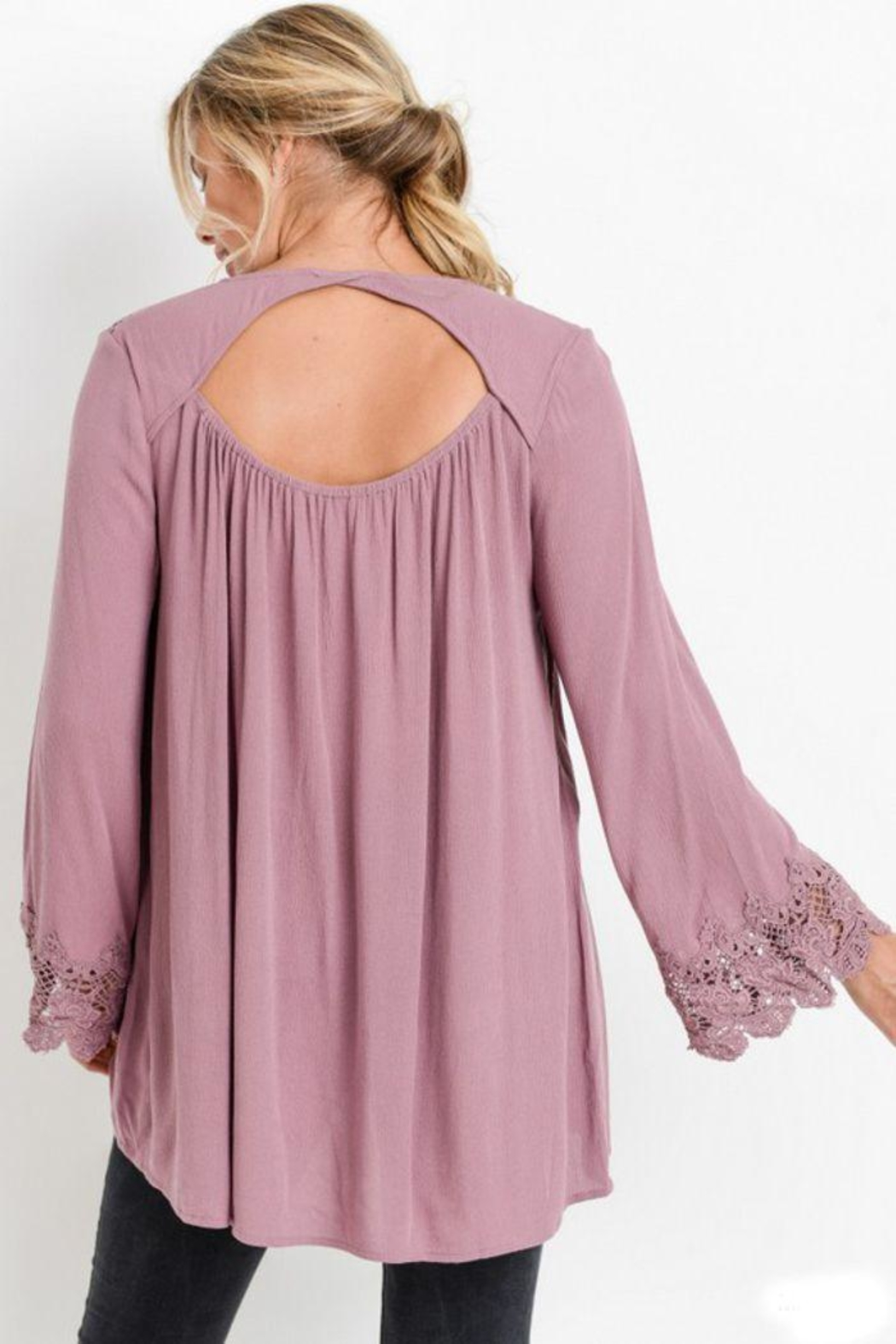 The Dressing Room Cut-Out Lace-Trim Top - Front Full Image