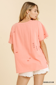 umgee  CUT OUT ROUND KNECK SHORT SLV TEE - Alternate List Image