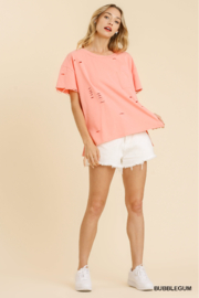 umgee  CUT OUT ROUND KNECK SHORT SLV TEE - Product Mini Image