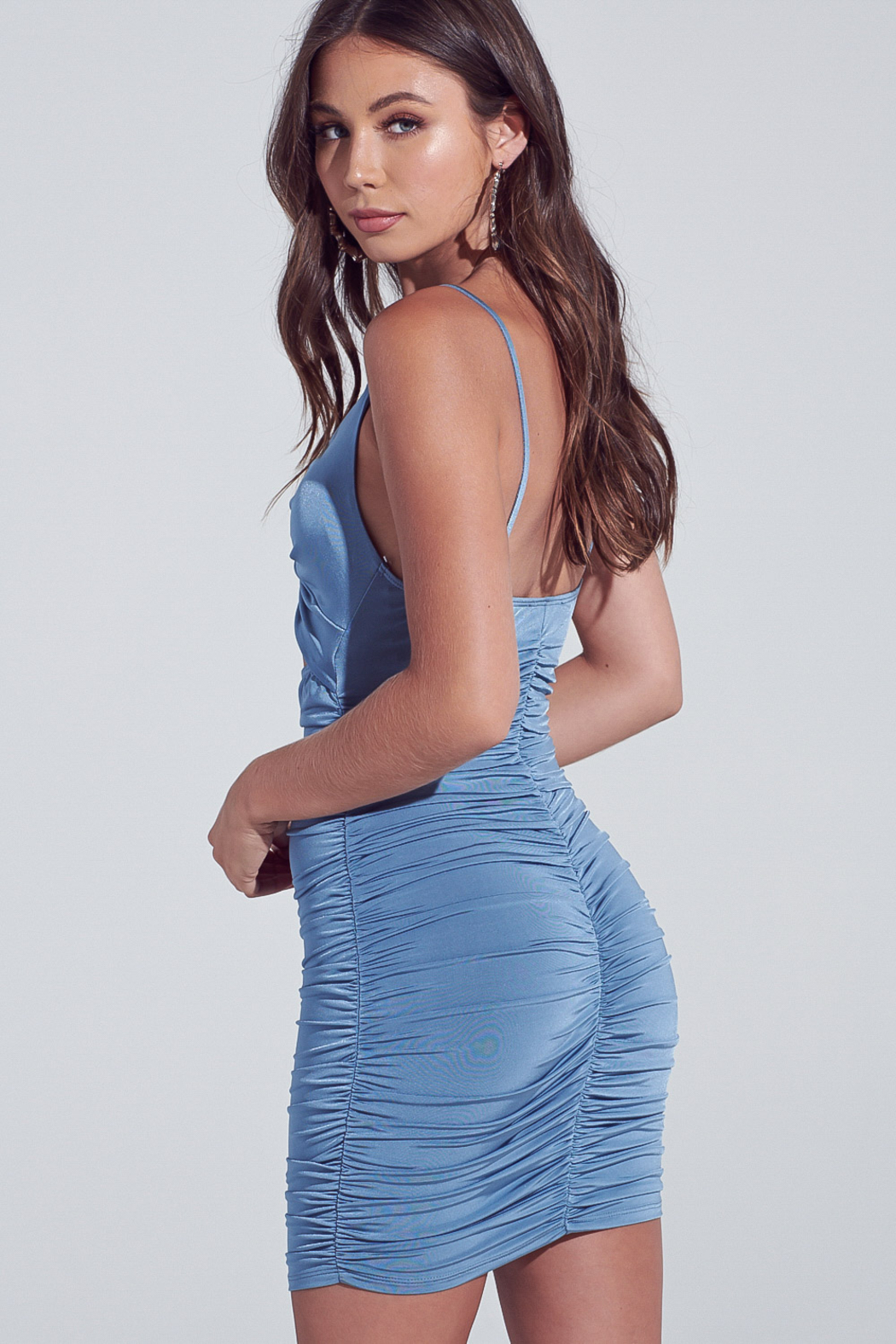 blue blush Cut Out Ruched Mini - Front Full Image