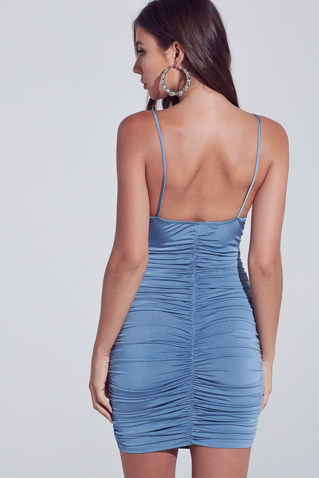 blue blush Cut Out Ruched Mini - Side Cropped Image