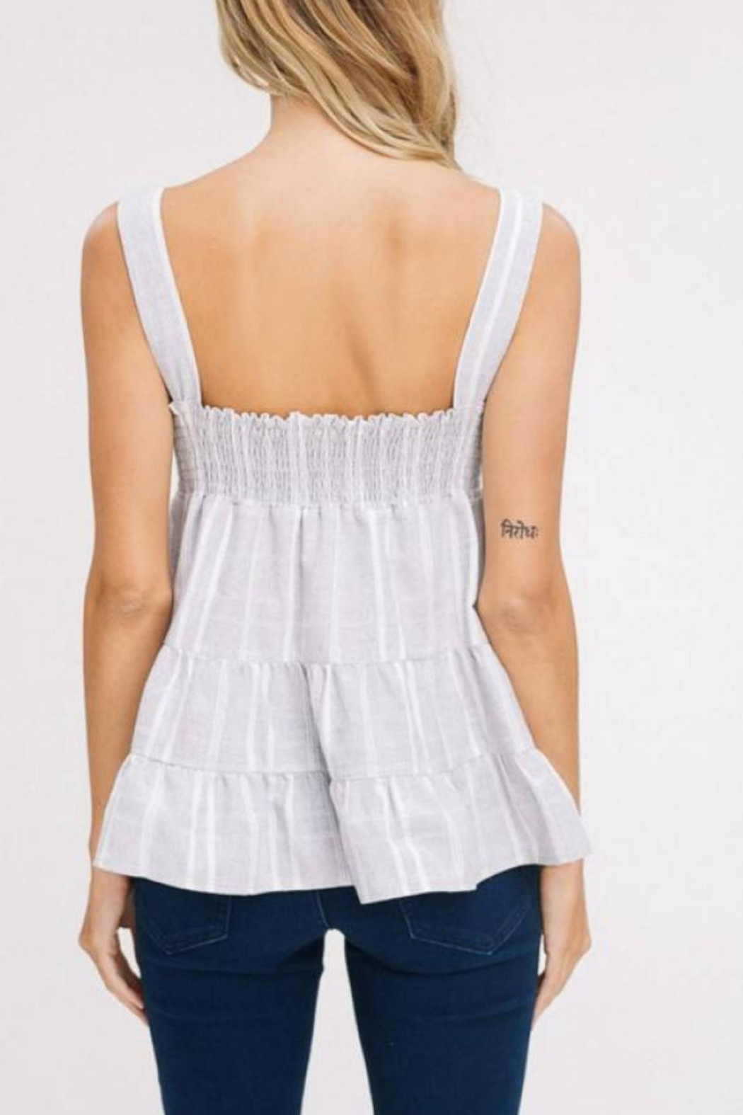 Listicle Cut-Out Ruffle Tank - Back Cropped Image