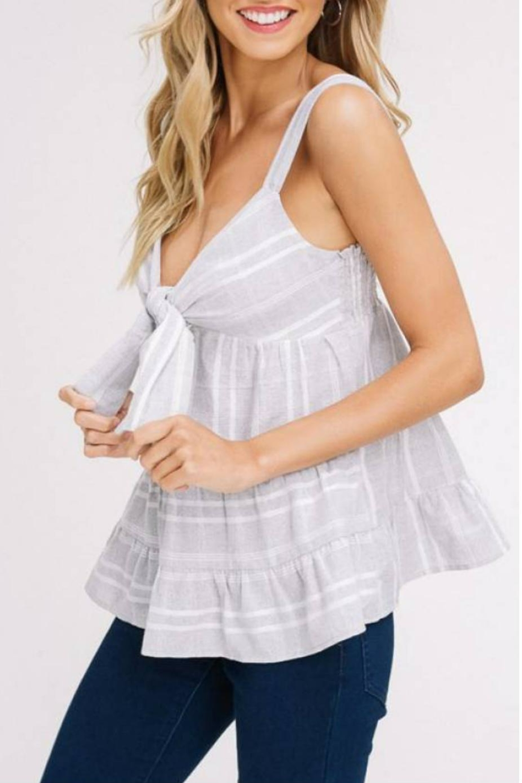 Listicle Cut-Out Ruffle Tank - Side Cropped Image