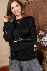 Main Strip Cut Out Sleeve Sweater - Side cropped