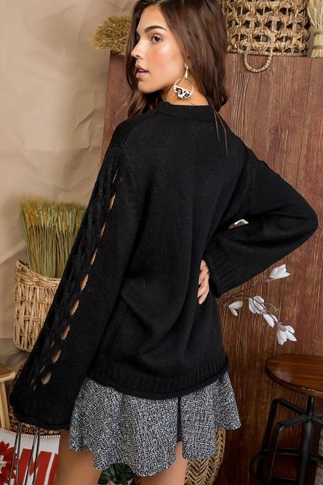 Main Strip Cut Out Sleeve Sweater - Front Full Image