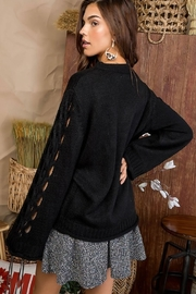 Main Strip Cut Out Sleeve Sweater - Front full body