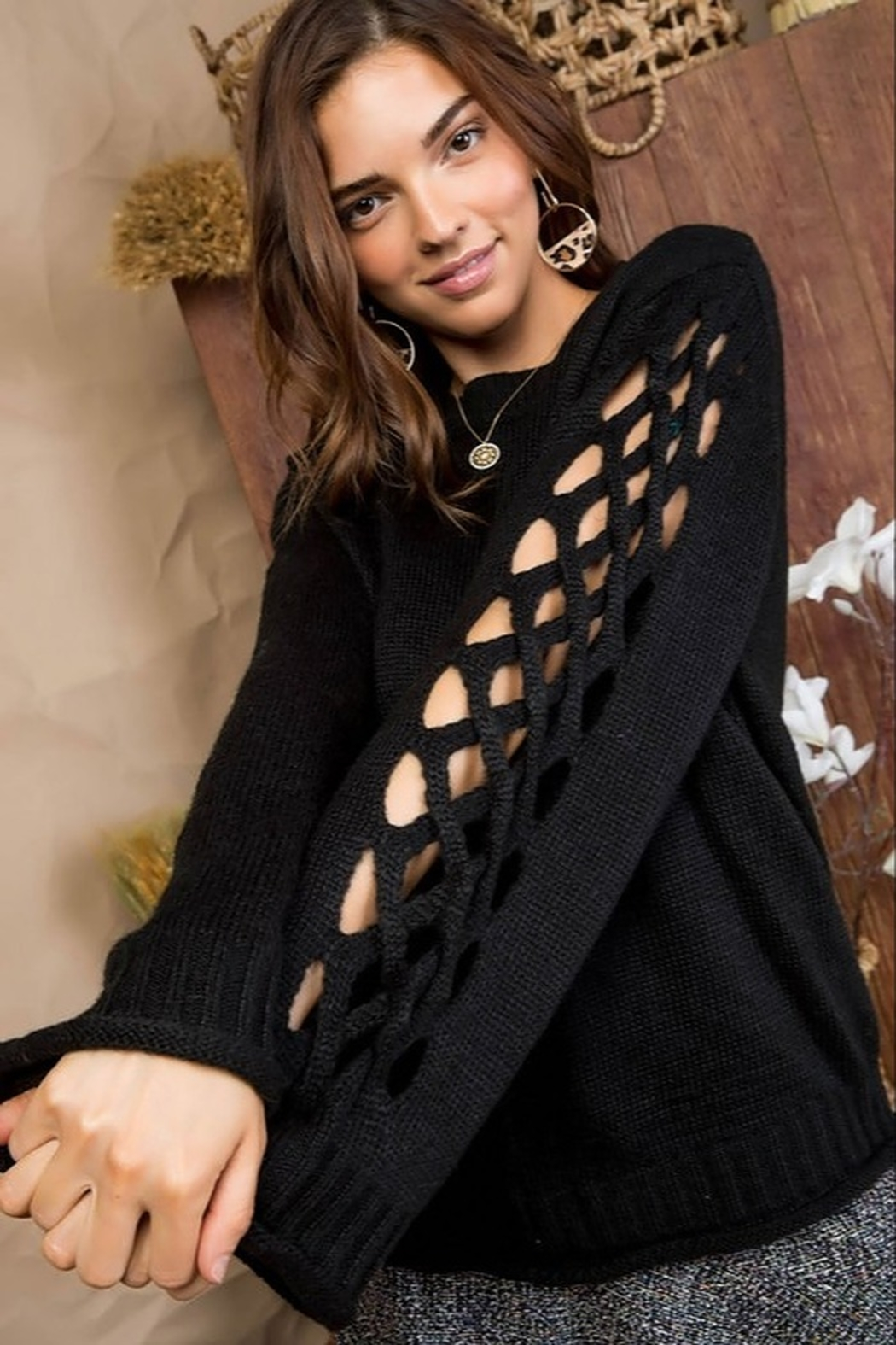 Main Strip Cut Out Sleeve Sweater - Main Image