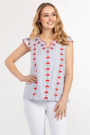 Tribal Jeans  Cute Cap Sleeve Blouse - Front full body