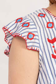 Tribal Jeans  Cute Cap Sleeve Blouse - Back cropped