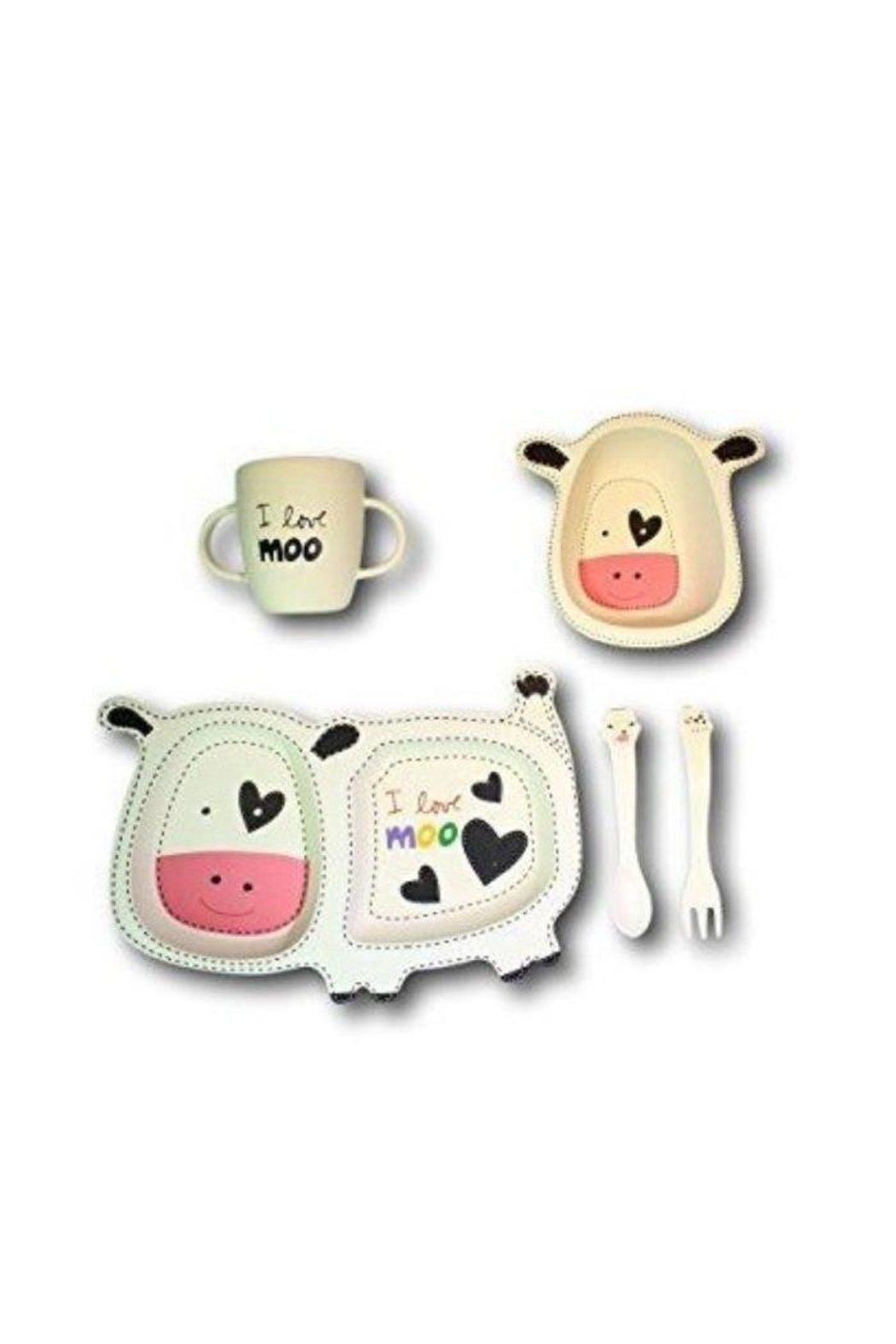 Manual Woodworkers and Weavers Cute Cow Dishset - Main Image