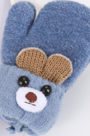 Freeship Wholesale - Faire Cute Ear Cartoon Children's Knitted Woolen Gloves - Back cropped