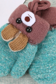 Freeship Wholesale - Faire Cute Ear Cartoon Children's Knitted Woolen Gloves - Front cropped