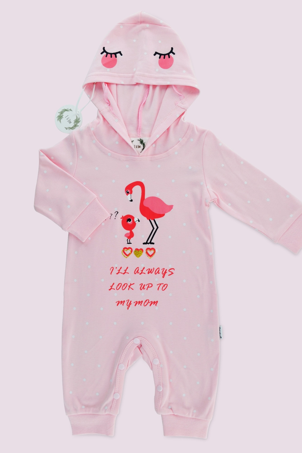 T & Tim Cute Mommy Flamingo Romper - Front Cropped Image