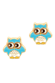 Girl Nation  Cutie Enamel Blue Owl Studs - Front cropped
