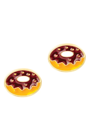 Girl Nation  Cutie Enamel Chocolate Donut Stud Earrings - Product Mini Image