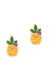 Girl Nation  Cutie Enamel Kawaii Pineapple Stud Earrings - Product Mini Image