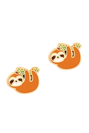 Girl Nation  Cutie Enamel Playful Sloth Stud Earrings - Product Mini Image