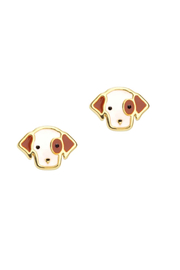 Girl Nation  Cutie Enamel Puppy Stud Earrings - Front cropped