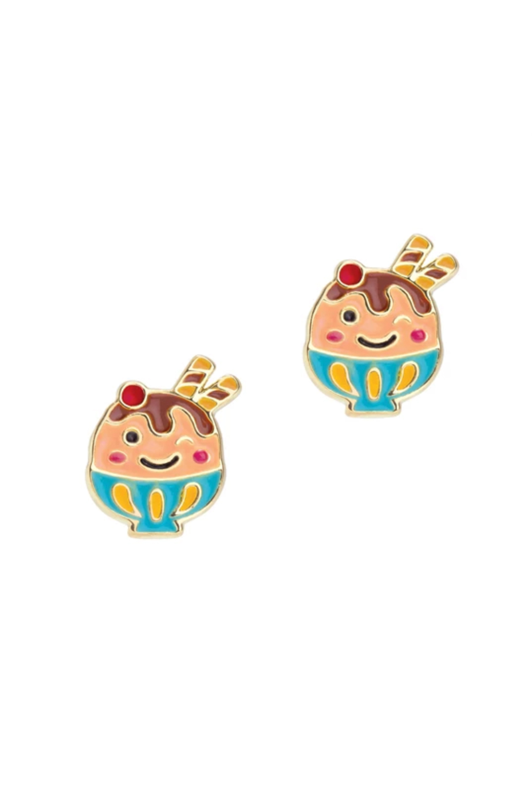 Girl Nation  Cutie Enamel Winky Ice Cream Stud Earrings - Main Image