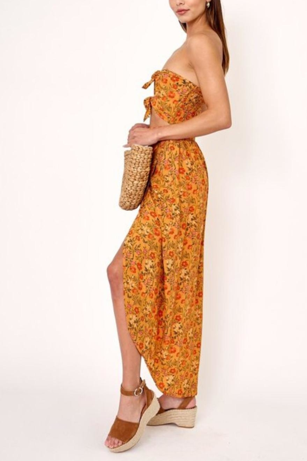 Olivaceous Cutout Floral Dress - Front Full Image