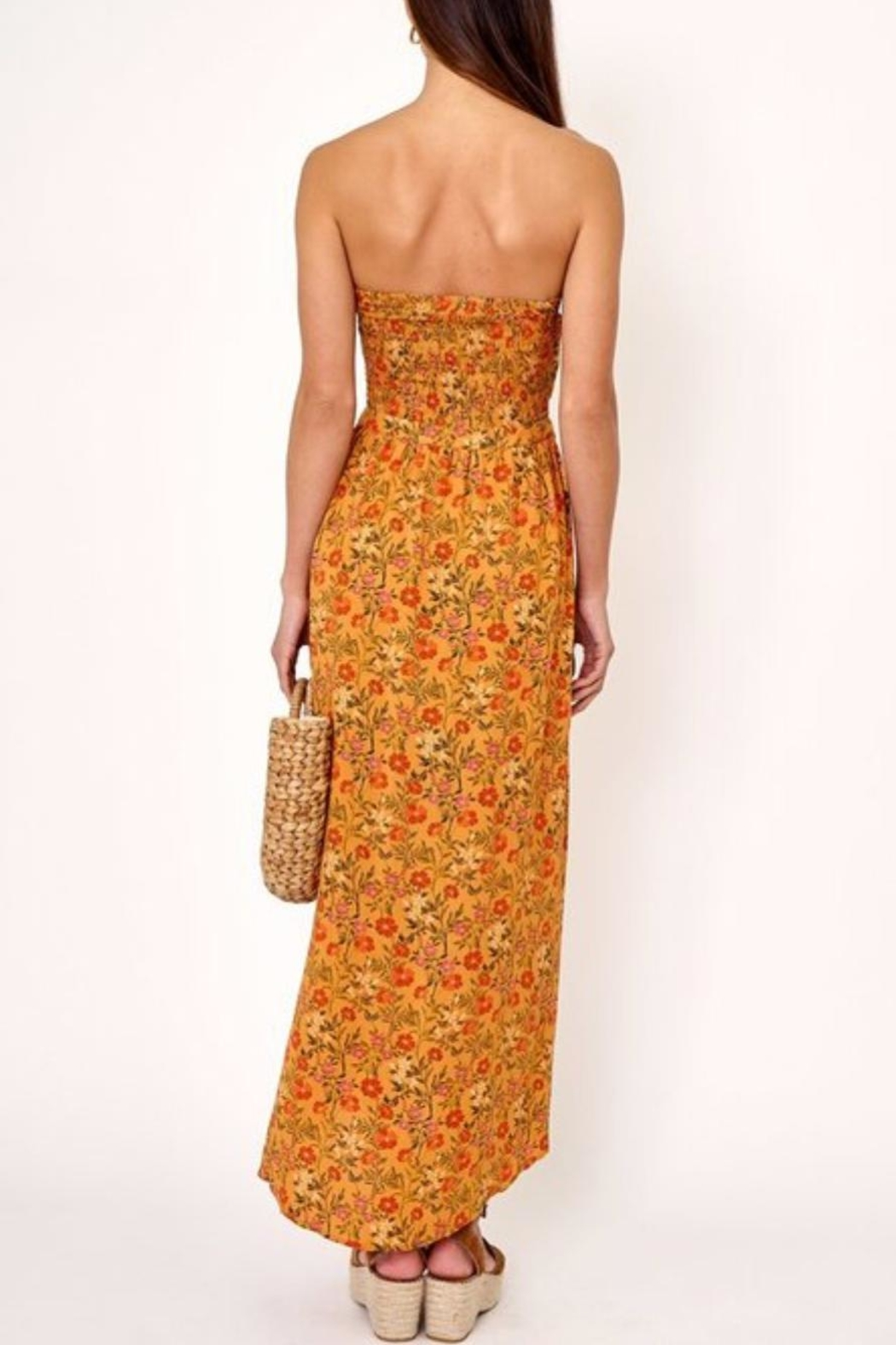 Olivaceous Cutout Floral Dress - Side Cropped Image
