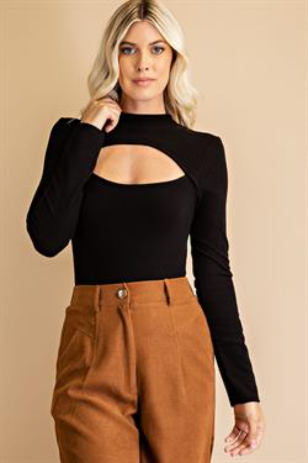 Glam Cutout Front Bodysuit - Back Cropped Image