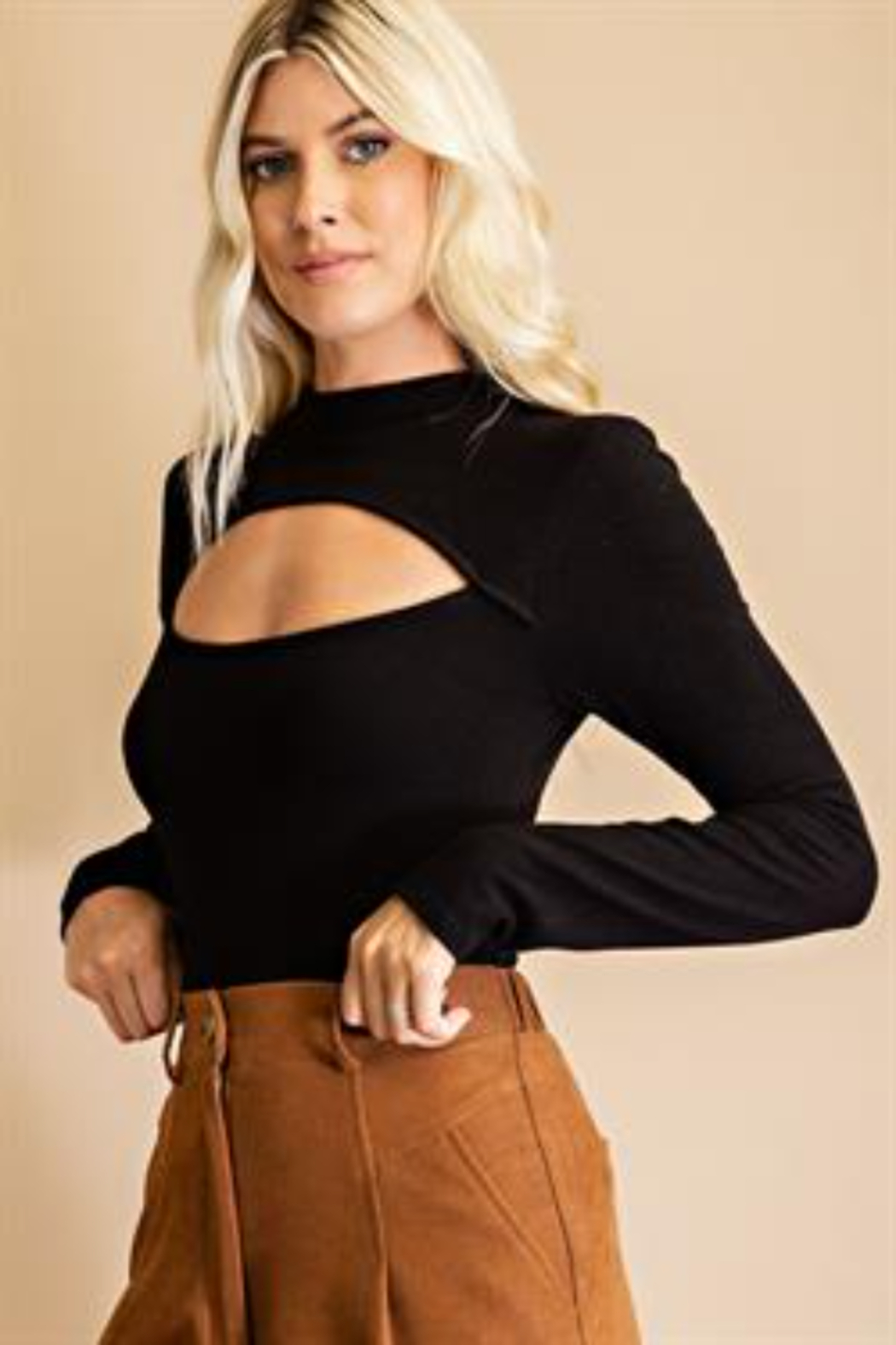 Glam Cutout Front Bodysuit - Side Cropped Image