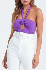 blue blush Cutout Halter Neck Bodysuit - Product Mini Image
