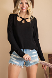 143 Story Cutout Neck Long Sleeve Knit Top - Product Mini Image