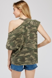 Mustard Seed Cutout-Shoulder Camo Top - Side cropped