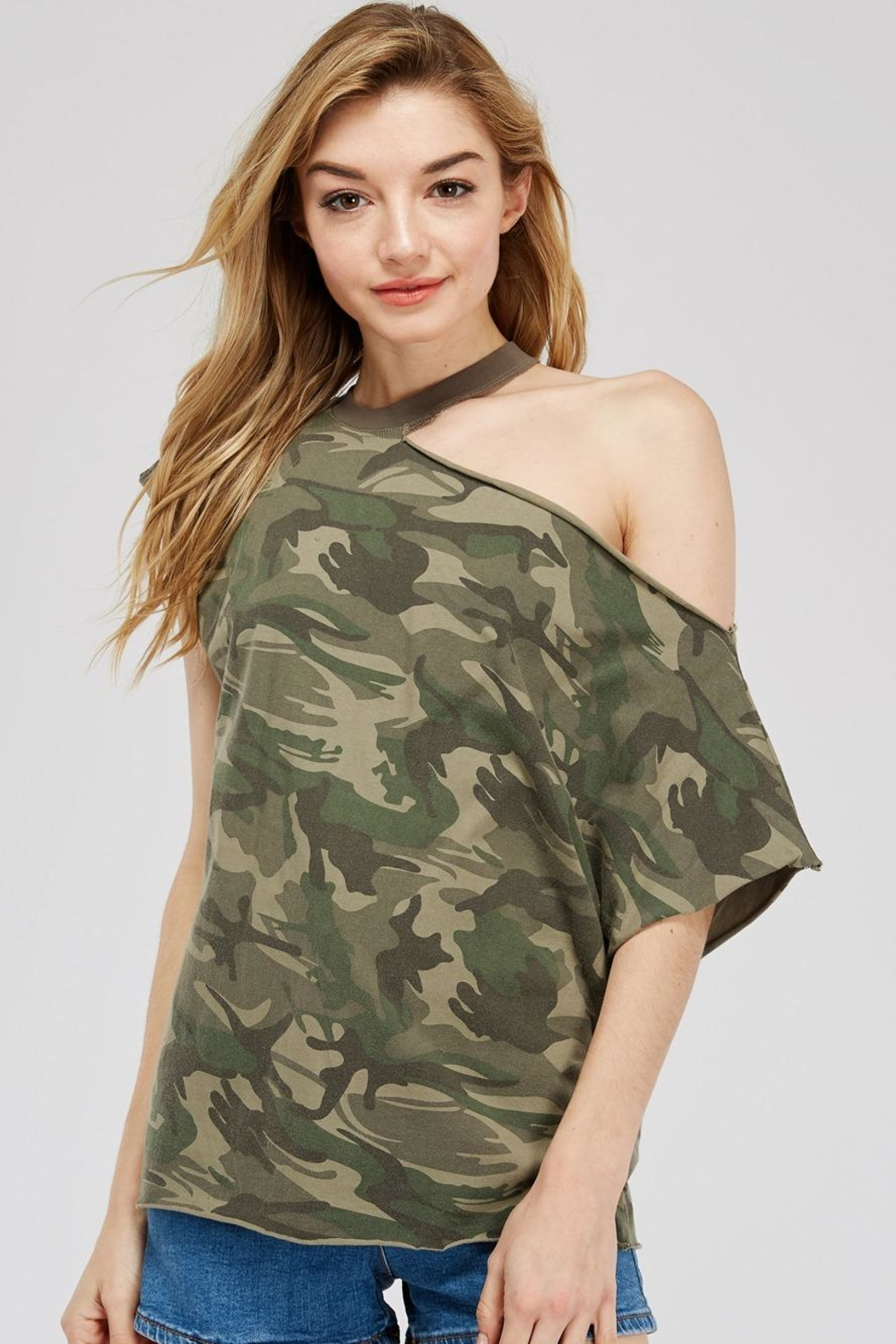 Mustard Seed Cutout-Shoulder Camo Top - Main Image