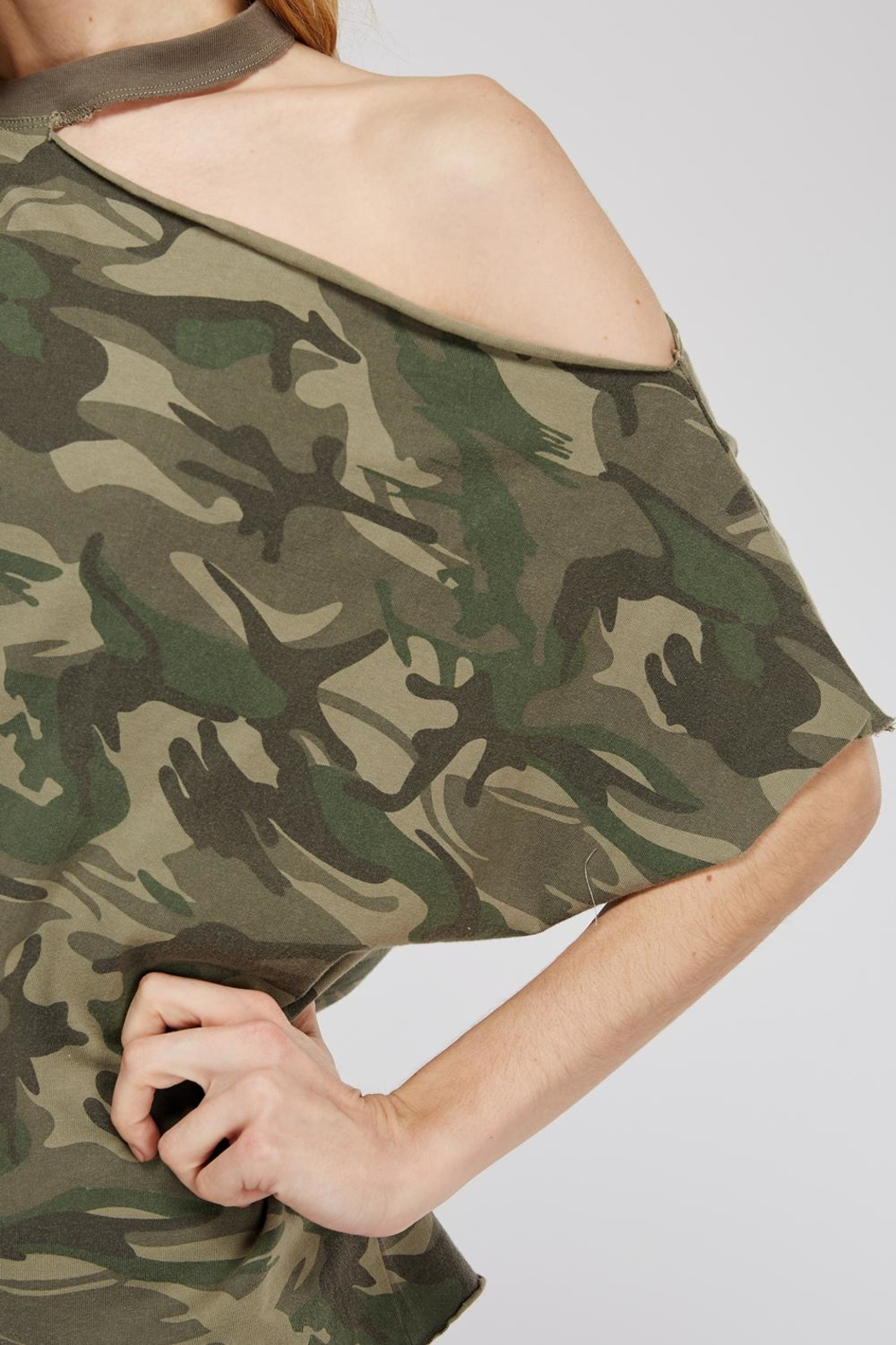 Mustard Seed Cutout-Shoulder Camo Top - Back Cropped Image