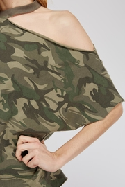 Mustard Seed Cutout-Shoulder Camo Top - Back cropped