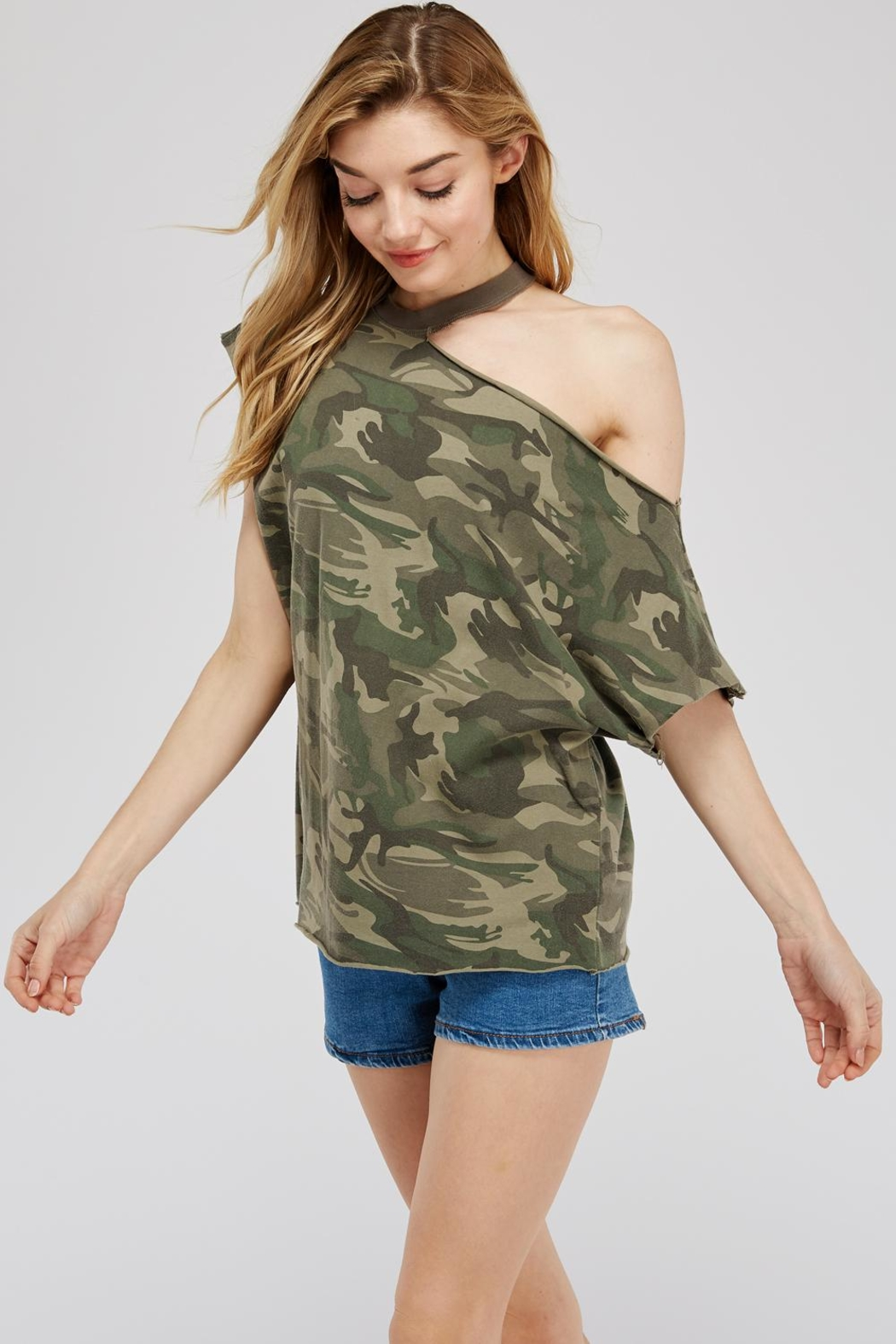 Mustard Seed Cutout-Shoulder Camo Top - Front Full Image