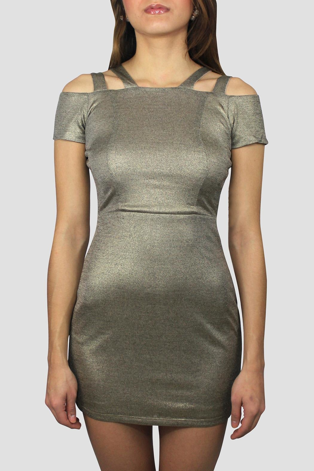 SoZu Cutout Shoulders Dress - Front Cropped Image