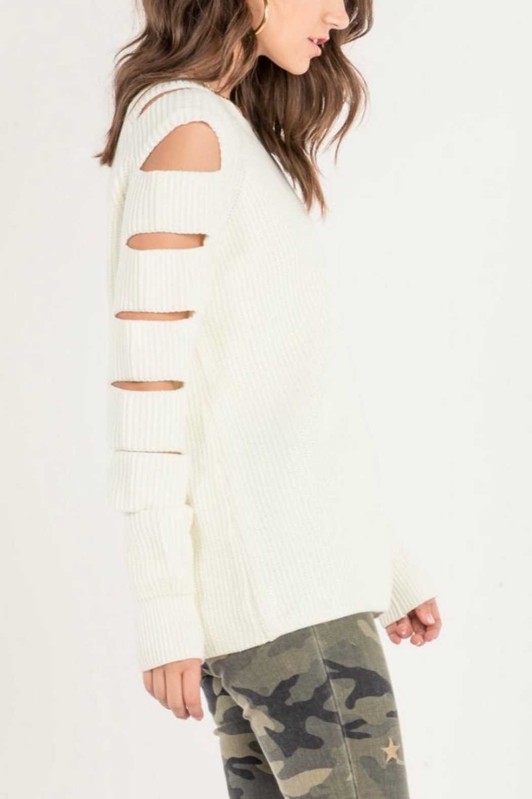 Miss Me Cutout Sleeve Sweater - Front Full Image