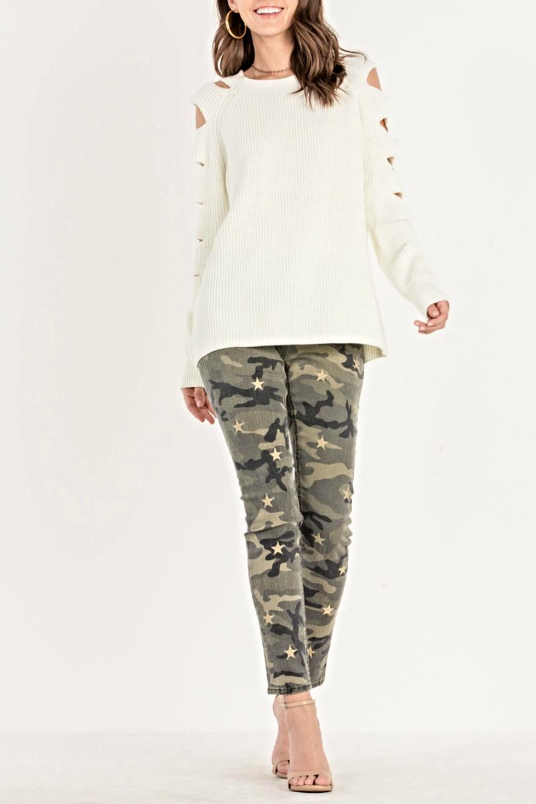 Miss Me Cutout Sleeve Sweater - Main Image
