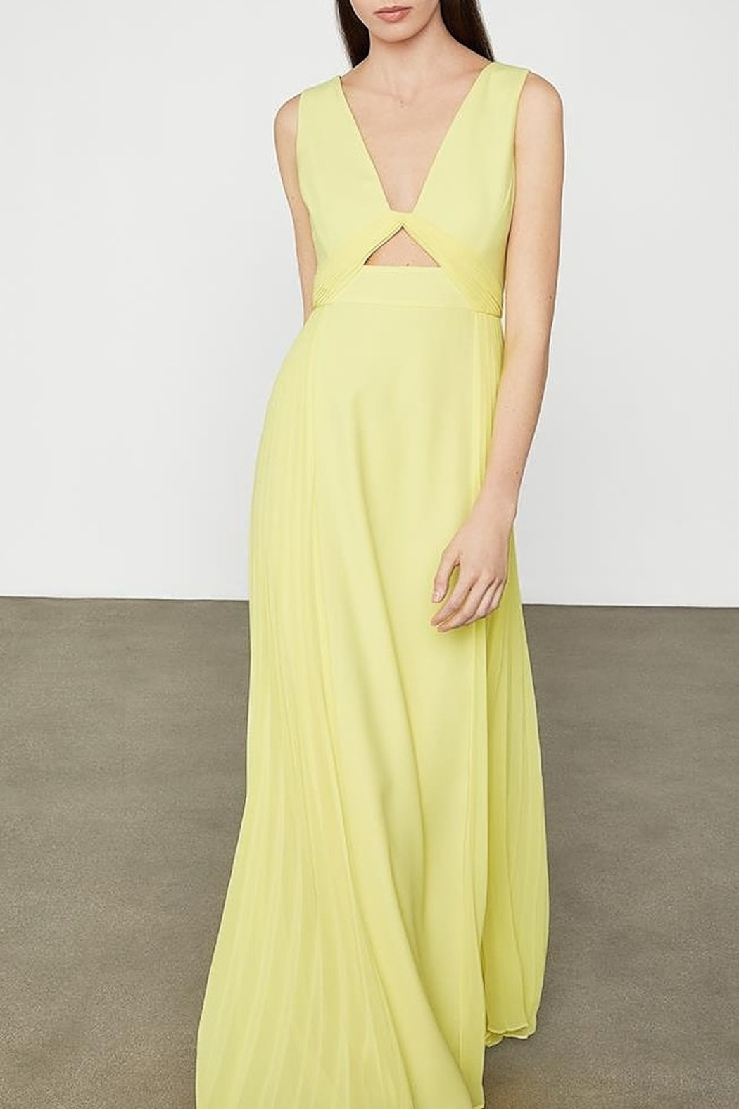 BCBG MAXAZRIA Cutout V-neck Gown with Pleated Chiffon - Main Image