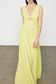 BCBG MAXAZRIA Cutout V-neck Gown with Pleated Chiffon - Front cropped