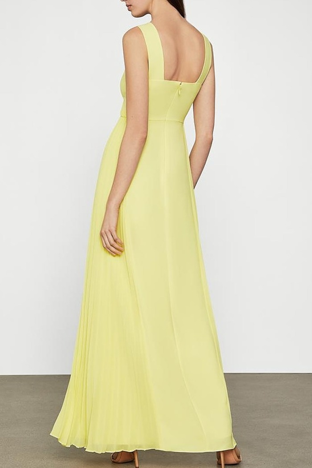 BCBG MAXAZRIA Cutout V-neck Gown with Pleated Chiffon - Side Cropped Image
