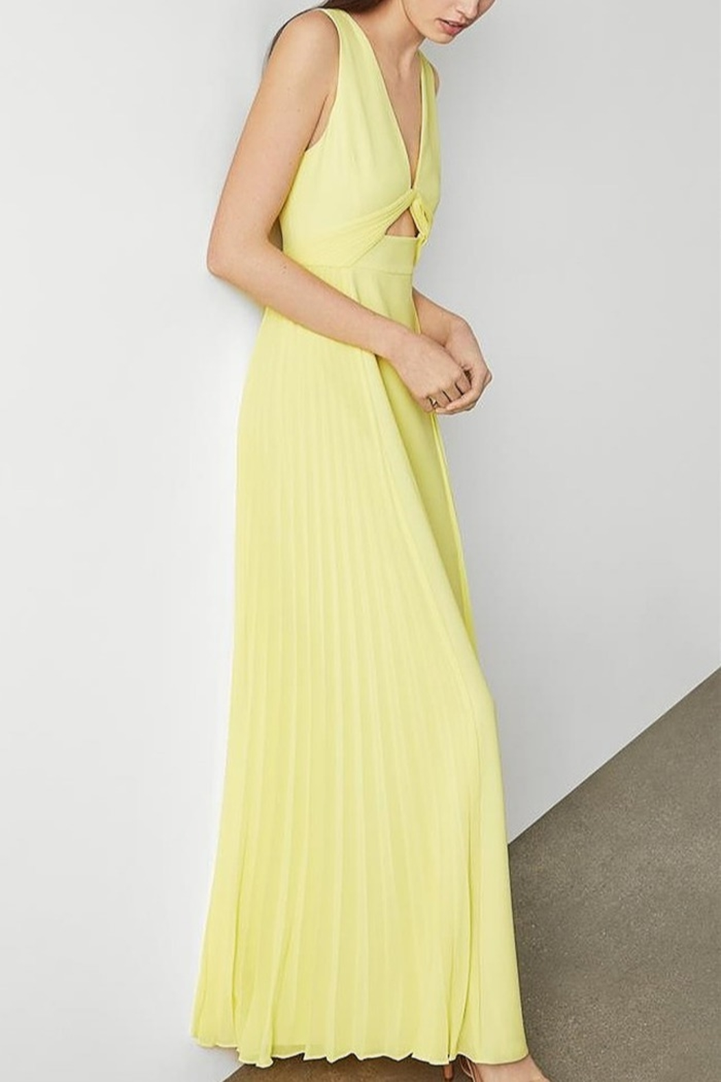 BCBG MAXAZRIA Cutout V-neck Gown with Pleated Chiffon - Front Full Image