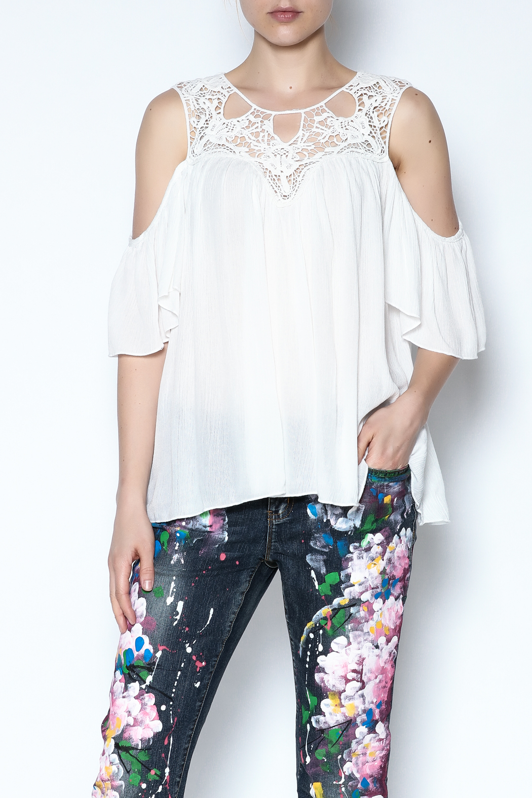 CY Fashion Crochet Lace Top - Main Image