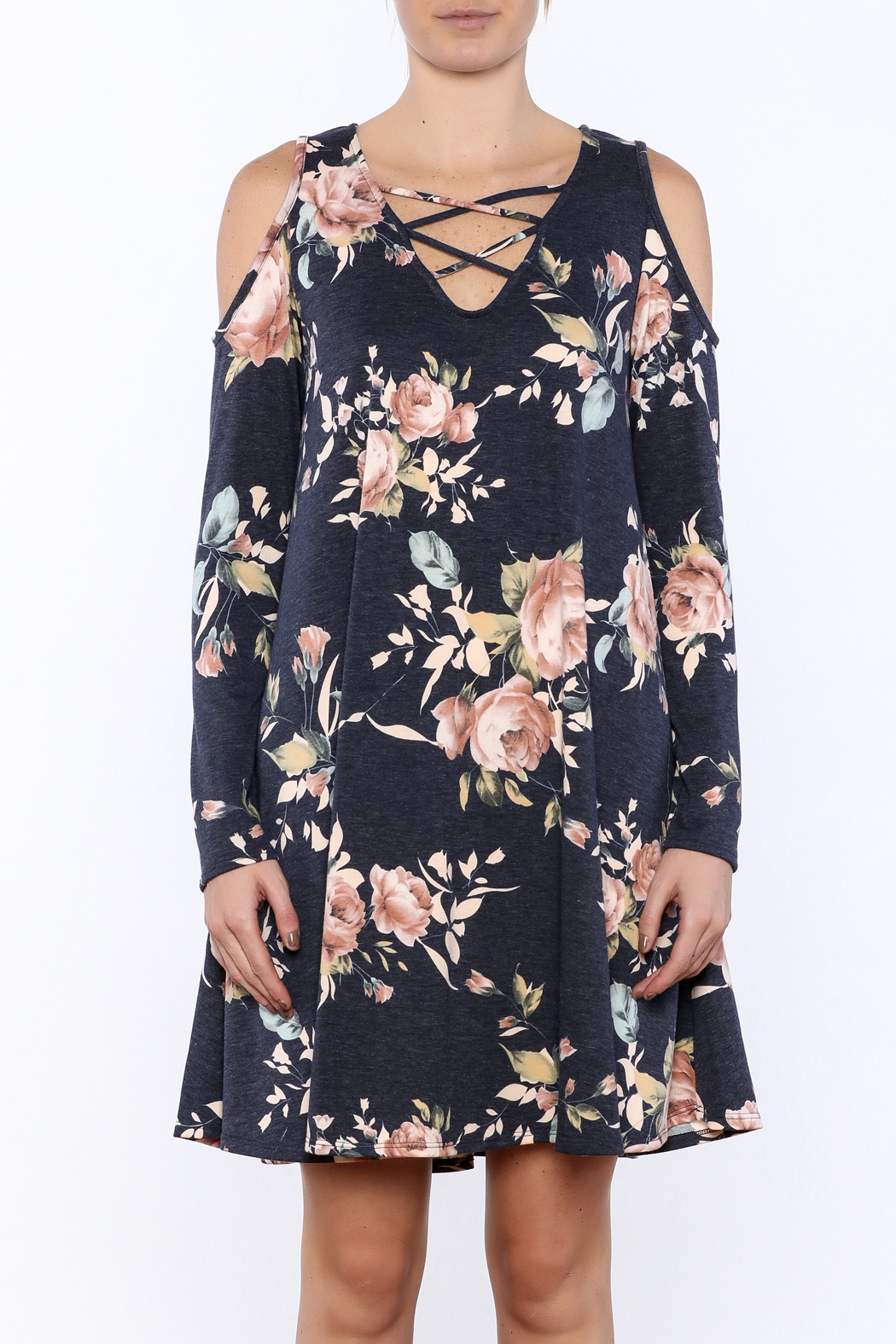 573f343e1e0483 CY Fashion Floral Cold Shoulder Dress from Idaho by Garment District ...