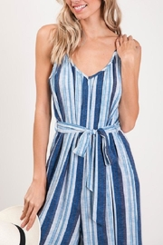 CY Fashion Blue Striped Jumpsuit - Back cropped