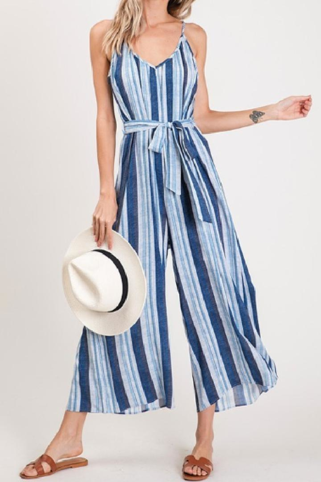 CY Fashion Blue Striped Jumpsuit - Front Cropped Image